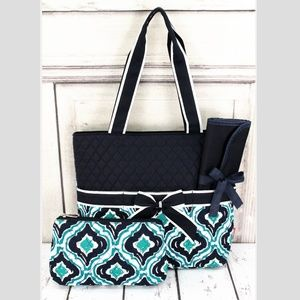 Handbags - Moroccan Quilted Bag With Navy Trim